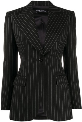 Dolce & Gabbana Pinstriped Single Button Blazer