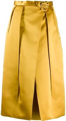Prada rose motif pleated skirt