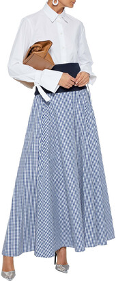 ADEAM Convertible Stretch-jersey And Gingham Shell Maxi Dress