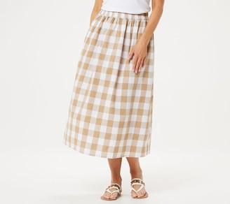 Joan Rivers Classics Collection Joan Rivers Petite Buffalo Check Midi Skirt