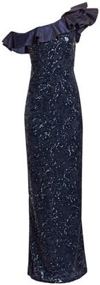 Teri Jon by Rickie Freeman One-Shoulder Embellished Lace & Taffeta Ruffled Gown