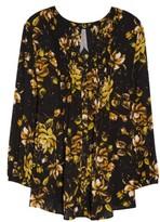 Melissa McCarthy Plus Size Women's Print Pintuck Blouse