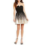 B. Darlin Strapless Foil Lace Fit-and-Flare Party Dress