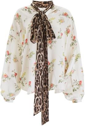 R 13 Floral-printed Silk Blouse