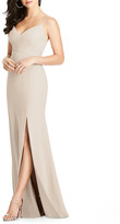 Dessy Collection V-Neck Spaghetti-Strap Gown w/ Slit