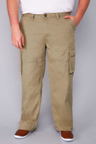 Yours Clothing BadRhino Stone Brown Cargo Trousers With Utility Pockets