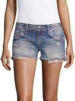 Miss Me Striped-Pocket Denim Shorts
