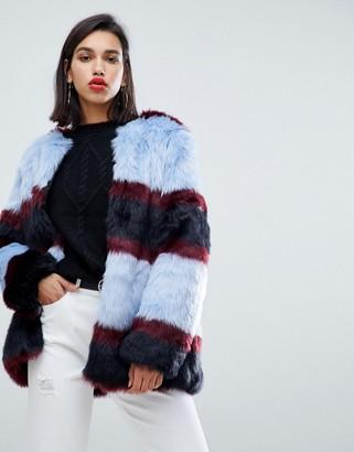 Y.A.S stripe faux fur coat
