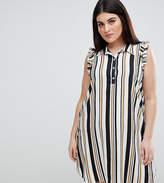 AX Paris Plus Ruffle Shoulder Stripe Shirt Dress