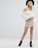 Honey Punch Laced Up Mini Skirt