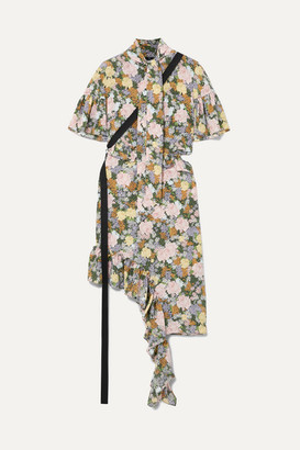 Rokh Asymmetric Ruffled Floral-print Silk-crepe Dress - Yellow