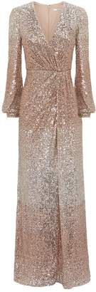 Badgley Mischka Drape Sequin Gown