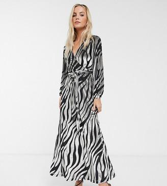 Asos DESIGN Petite velvet maxi dress in zebra print