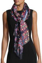 Neiman Marcus Stained Glass-Print Wrap Scarf, Red Multi