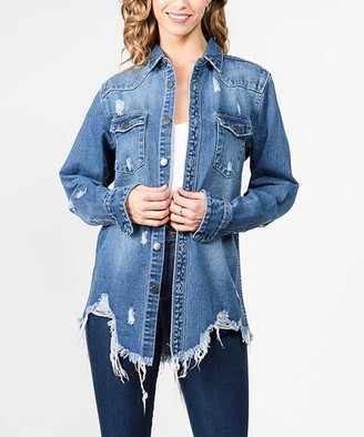 American Bazi Women's Denim Jackets BLUE - Medium Wash Distressed Denim Button-Up - Women & Plus