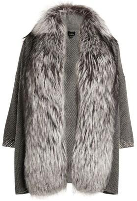William Sharp Fox Fur-Trim Cardigan