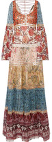 Roberto Cavalli Embellished Printed Fil Coupé Silk-blend Chiffon Gown - Red