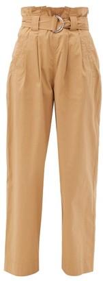 Ganni Paperbag-waist Cotton-blend Ripstop Trousers - Beige