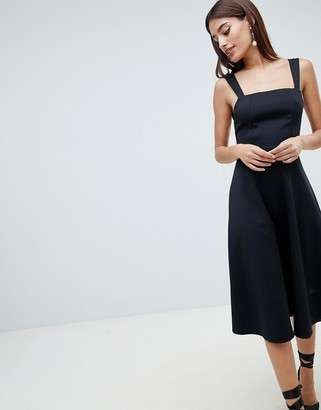 Asos Design DESIGN square neck midi prom dress-Black