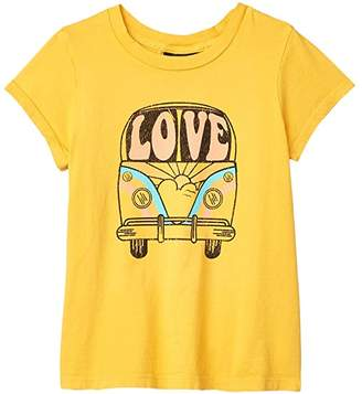 Tiny Whales Love Bus T-Shirt (Toddler/Little Kids/Big Kids) (Vintage Gold) Girl's Clothing