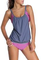 Ninimour-Womens Stripes Lined Up Double Up Blouson Tie Tankini Swimwear A Hot Pink S