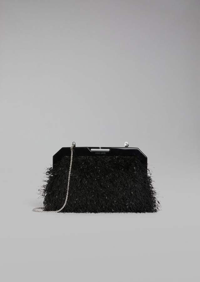 Giorgio Armani Gauri Fabric Clutch With Thin Metal Chain