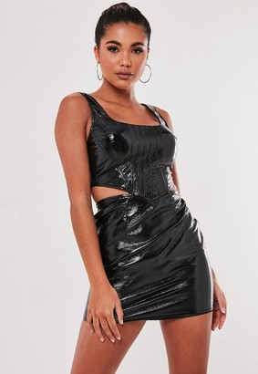 Missguided Black Vinyl Cut Out Corset Bodycon Mini Dress