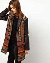 Urban Code Tapestry Coat With Leather Sleeve
