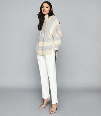Reiss ASTRID STRIPED OVERSIZED JUMPER Cream