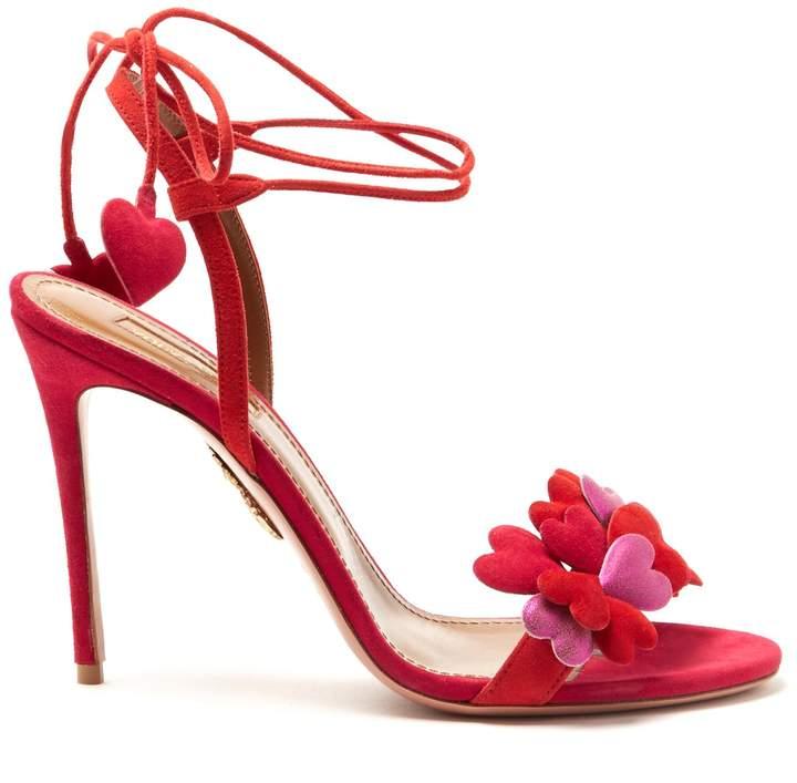 Aquazzura Happy Hearts suede sandals