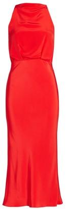 Cushnie High-Neck Open Back Silk Pencil Dress