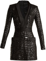 Balmain Satin-lapel sequin-embellished mini dress