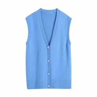 Ndleng Women Fashion V Neck Solid Diamond Buttons Soft Knitting Sweater Female Sleeveless Casual Vest Chic Cardigans Tops as pic S648BB S