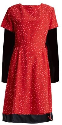 Vetements Contrast-panel Polka-dot Silk Dress - Womens - Red Multi