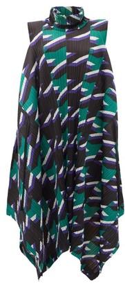 Pleats Please Issey Miyake Shooting Star-print Technical-pleated Dress - Green Multi