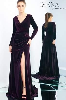 Mac Duggal Velvet Long-Sleeve Gown