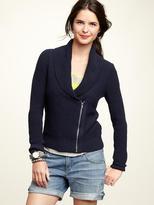 Zip shawl-collar sweater