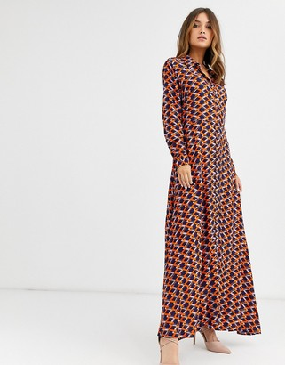 Y.A.S geo printed maxi shirt dress