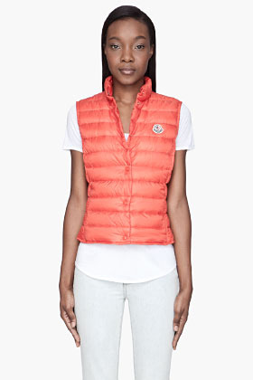 Moncler Orange quilted down Liane Vest