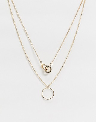 ASOS DESIGN multirow necklace with knot pendant and open circle in gold tone