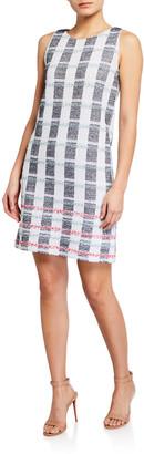 St. John Striped Tweed Knit Bateau-Neck Dress