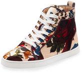 Christian Louboutin Bip Bip Velvet High-Top Sneaker, Beige