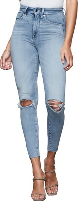 Good American Good Waist Ripped High Waist Crop Skinny Jeans
