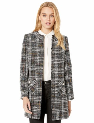 Karl Lagerfeld Paris Women's Tweed Topper with Front Pockets