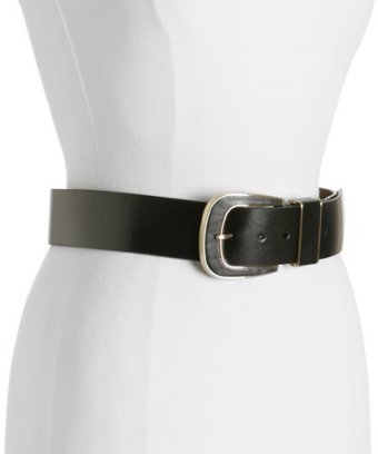 MICHAEL Michael Kors black leather covered buckle wide belt