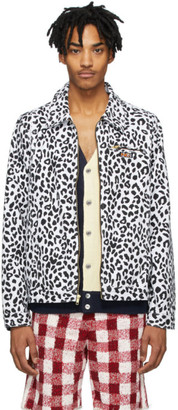 Noon Goons White and Black Denim Leopard Jacket