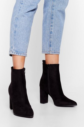 Nasty Gal Womens We Faux Suede It Heeled Ankle Boots - Black - 3