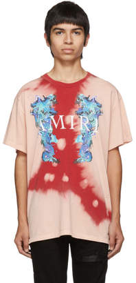 Amiri Pink and Red Watercolor Dragon T-Shirt