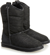 Australia Luxe Collective Black Croc Print Cowboy Short Shearling Boot