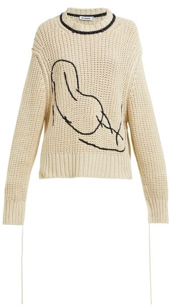 Jil Sander Embroidered Loose Knit Cotton Sweater - Womens - Beige Multi
